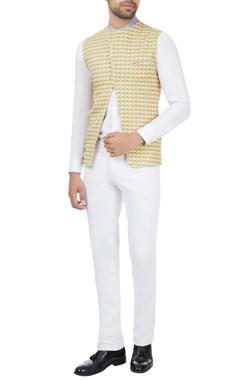 SS HOMME- Sarah & Sandeep Mustard printed polyester cross-over bundhi jacket