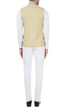 Mustard printed polyester cross-over bundhi jacket