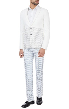 SS HOMME- Sarah & Sandeep White & grey printed suit set