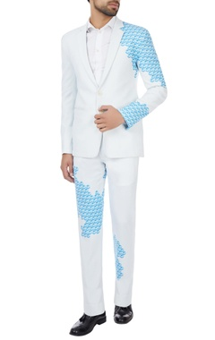 White & blue placement printed blazer & trousers