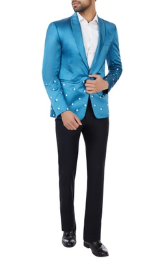 Bright blue geometric poly-satin tuxedo jacket with pants