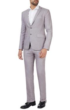 SS HOMME- Sarah & Sandeep Grey printed linen suit