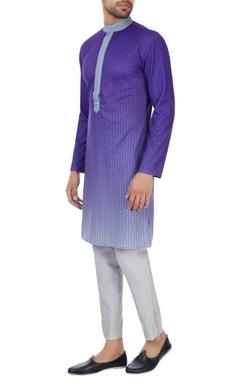 SS HOMME- Sarah & Sandeep Purple & grey gradient printed long kurta