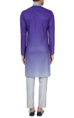 Purple & grey gradient printed long kurta