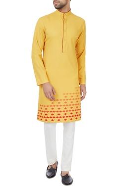 SS HOMME- Sarah & Sandeep Mustard yellow printed long kurta