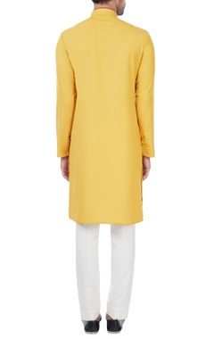 Mustard yellow printed long kurta