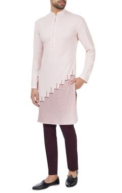 SS HOMME- Sarah & Sandeep Light pink polyester pixel printed kurta