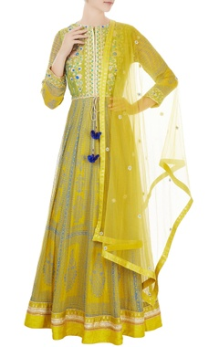 yellow raw silk & block printed georgette anarkali set