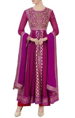 Purple georgette & chanderi brocade anarkali set