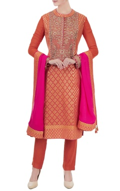 Burnt orange zardozi chanderi brocade kurta set