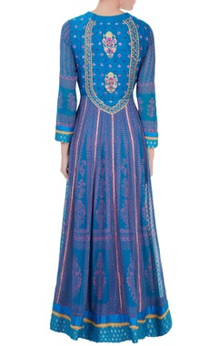 Blue gota embroidered anarkali with dupatta