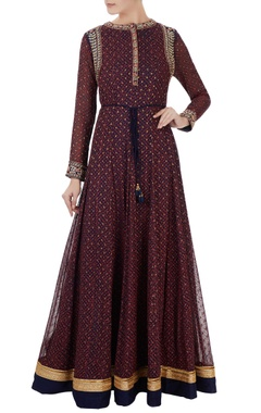 navy blue block printed georgette anarkali set