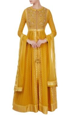 Shyam Narayan Prasad Yellow georgette & chanderi brocade anarkali set