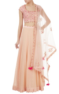 Powder pink gota & thread embroidered lehenga set