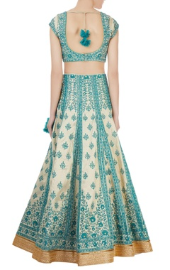 Blue & gold brocade thread embroidered lehenga set