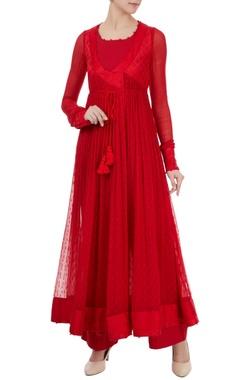 Red tie-up angrakha jacket set