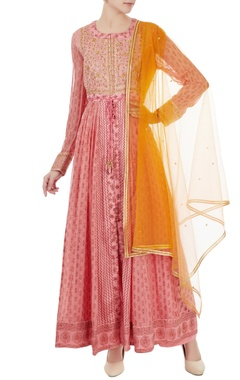 pastel pink gota embroidered long anarkali set