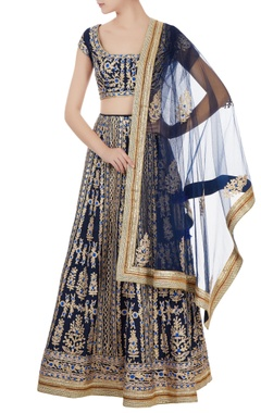 navy blue raw silk gota & thread embroidered lehenga