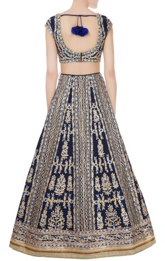 navy blue raw silk gota & thread embroidered lehenga