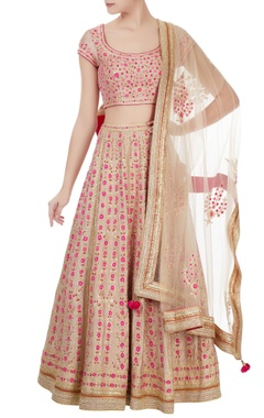 Beige & pink gota embroidered raw silk lehenga set
