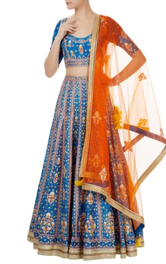 blue gota embroidered raw silk lehenga set