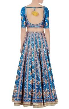 blue gota embroidered raw silk lehenga set