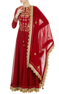 maroon georgette silk dori embroidered anarkali set