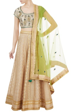 beige & gold brocade chanderi lehenga set