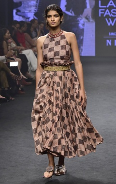 Punit Balana Pink & black chanderi silk printed halter neck top with skirt