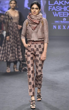 Punit Balana Pink & black chanderi silk printed top with pants & short jacket