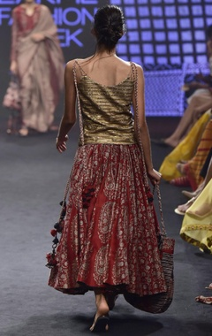 Red & gold chanderi silk printed skirt with strappy camisole
