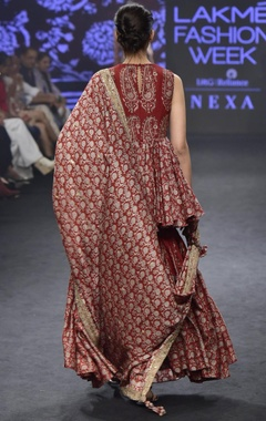 Red chanderi silk printed peplum tunic & sharara with dupatta