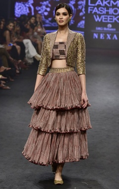 Punit Balana Pink & gold chanderi silk printed jacket & tiered skirt with bustier