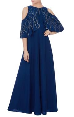 blue cold-shoulder cape style gown