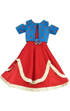 Red anarkali dress with blue embroidered jacket