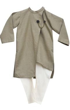 Grey linen asymmetric kurta with churidar