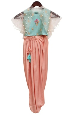 aqua blue satin embroidered blouse & draped dhoti with net cape
