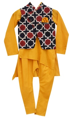 Mustard kurta and churidar with ajrag print nehru jacket