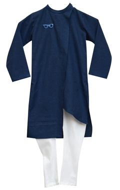 Dark blue kurta with white churidar