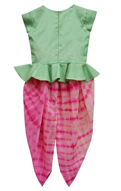 Mint green peplum choli with pink tie-dye dhoti