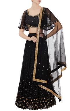 Black net sequin blouse with lehenga
