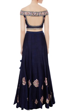 Navy blue raw silk gota patti & hand embroidered off-shoulder blouse with lehenga