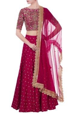 Dark pink raw silk zardozi hand embroidered bouse with lehenga & dupatta