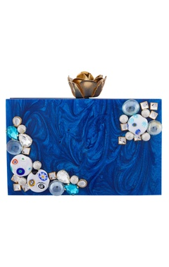 Blue acrylic bejeweled clutch