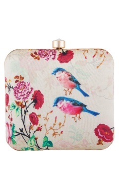 Off white fabric bird print clutch