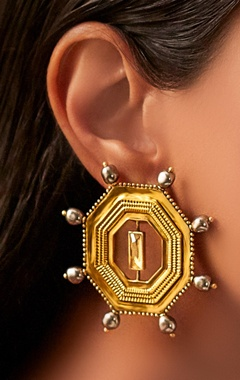 Gold plated JJ Valaya ranas warrior princess studs