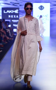 House of Kotwara white chikankari choga jacket with scallop waistcoat & straight pants