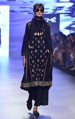 House of Kotwara Black chikankari embroidered kalidar kurta set
