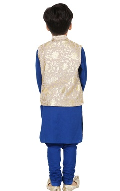 blue & beige foil print kurta set with nehru jacket