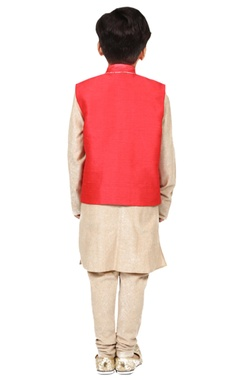 red & gold solid kurta set with nehru jacket